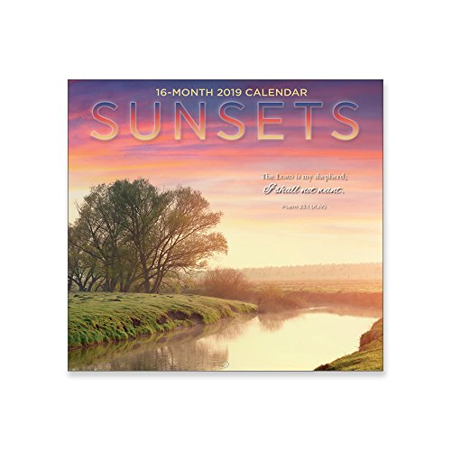 Sunset Linen - MTT Religious 16 Month Premium Wall Calendar 2019: Sunsets. Each Month Displays Full-Color Photograph. Printed on Linen Embossed Heavyweight Paper Stock. Includes KJV Scripture