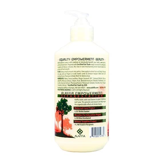 Alaffia - Everyday Coconut - Moisturizing Hair & Body Lotion, Gentle for Babies & Up - 16 oz 6 100% FAIR TRADE: Feel good about how you are getting your products with 100% Certified Fair Trade Ingredients. HANDCRAFTED WITH HAND EXTRACTED COCONUT: Formulated with Certified Fair Trade coconut oil and coconut water. LIGHT AND SOFT: Extra light and gentle lotion with comforting chamomile scent.