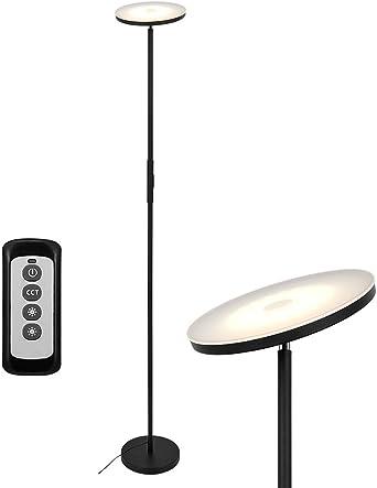 Anten 20W Lámpara de Pie Regulable con Mando, LED Lámparas de Pie Negro para Salon/Dormitorios Modernas Nordicas: Amazon.es: Iluminación