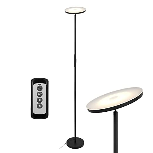 Anten 20W Lampara de Pie Regulable con Mando, LED Lámparas de Pie Negro para Salon/Comedor/Dormitorios Modernas Nordicas