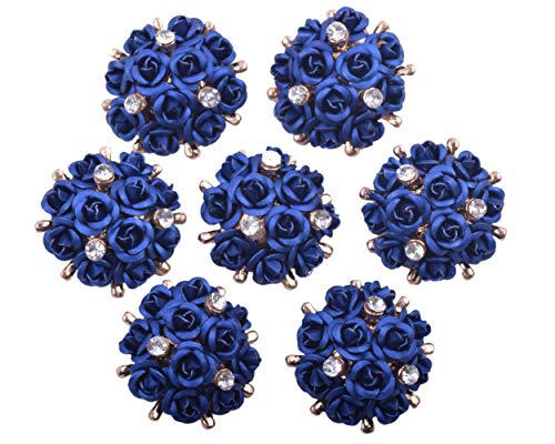 KAOYOO 10Pcs Crystal Rhinestone Aluminum Rose Flowers Embellishments Buttons Gold Plated Sew on - Navy Plated Gold