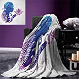 Teen Girls Warm Microfiber All Season Blanket Girls Silhouette with Flowers on Her Hair Floral Ornaments Meditation Spa Art Print Artwork Image 62''x60'' Purple Blue