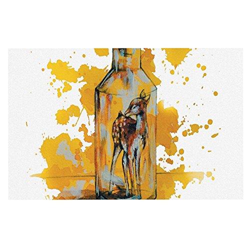 KESS InHouse Kira Crees Vintage Bottled Deer  Yellow White Dog Place Mat, 13  x 18