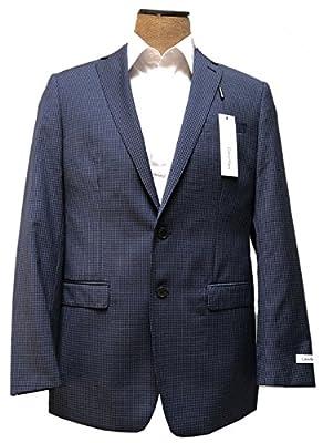 Calvin Klein Mens Navy Blue Check Wool Sport Coat Jacket