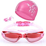 Joyousac Swim Goggles With Anti Fog UV Protection No Leaking Shatterproof for Adult Men Women with Swim Cap, Case, Nose Clip, Ear Plugs in the Package