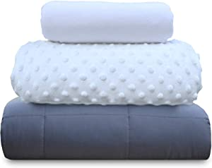 chilla 15 lbs Weighted Blanket Set | 3 Piece Set | Summer + Winter Duvet Covers | 60in x 80in | White + Gray