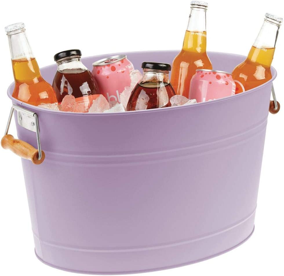 mDesign Metal Beverage Tub & Soda Pop, Beer, Wine, Ice Holder - Portable Party Drink Chiller - 18 Liter Container - Rustic Vintage Farmhouse Oval Storage Bucket - Purple/Natural Bamboo Wood Handles