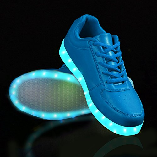 LED 7 Scarpe Luminosi Scarpe LED Colore Sneaker Carica Lampeggiante Sportive LeKuni Blue USB YEFqpYw
