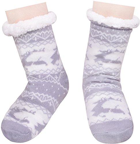 Stockings Gray Christmas Lining Slipper Fleece Socks High Knee Sock Deer White Womens FqzHRwv