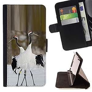 BullDog Case - FOR/Sony Xperia Z1 Compact D5503 / - / birds love winter nature couple valentines /- Monedero de cuero de la PU Llevar cubierta de la caja con el ID Credit Card Slots Flip funda de cuer
