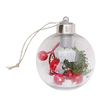 0ab867bc92e JERKKY Bola de luz LED Transparente Árbol de Navidad Ornamento Colgante  Adornos Adornos Luces Individuales Blanco cálido  Amazon.es  Hogar