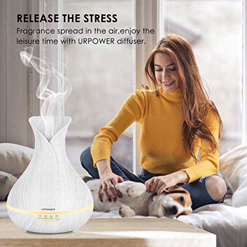 URPOWER Essential Oil Diffuser, 400ml Wood Grain Aromatherapy Diffuser Ultrasonic Cool Mist Humidifier with Waterless Auto Shut-Off Diffuser for Essential Oils for Bedroom Office Home Baby Room Yoga
