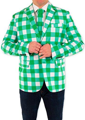 Festified Men's Irish Gingham ST. Patrick's Day Suit Coat (50)