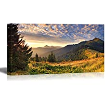"Canvas Prints Wall Art - Colorful Autumn Landscape in the Mountains at Sunrise Nature Beauty | Modern Wall Decor/ Home Decoration Stretched Gallery Canvas Wrap Giclee Print & Ready to Hang - 24"" x 48"""