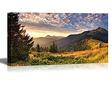 Wall26 Canvas Prints Wall Art - Colorful Autumn Landscape in the Mountains at Sunrise Nature Beauty | Modern Wall Decor/ Home Decoration Stretched Gallery Canvas Wrap Giclee Print & Ready to Hang - 24  x 48