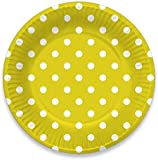 Lolliz® piatti di carta, 22.5 cm (12 pezzi), giallo/pois design