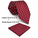 Shlax&Wing Red Dots Maroon Wedding Necktie Men's Tie Fashion 57.5''