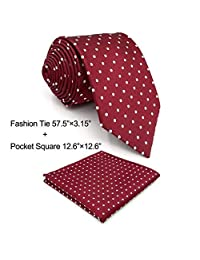 Shlax&Wing Red Dots Maroon Wedding Necktie Men's Tie Fashion 57.5""
