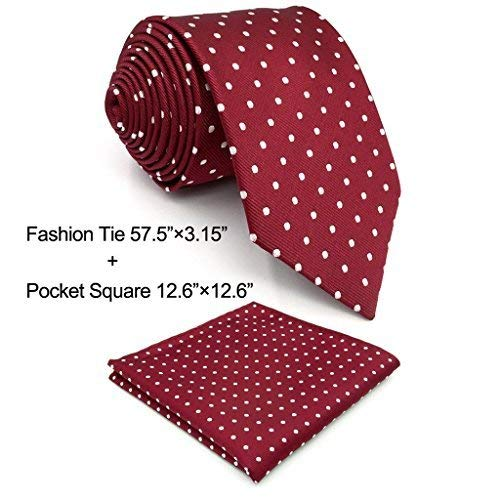 Shlax&Wing Red Dots Maroon Wedding Necktie Men's Tie Fashion 57.5'' by S&W SHLAX&WING