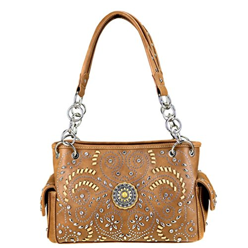 Montana West Concho Collection Swirl Pattern Concealed Handgun Satchel Handbag - Collection Concho