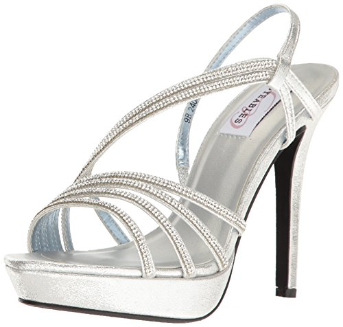 Dyeables, Inc Womens Dahlia Platform Dress Sandal, Silver, 7.5 M US -
