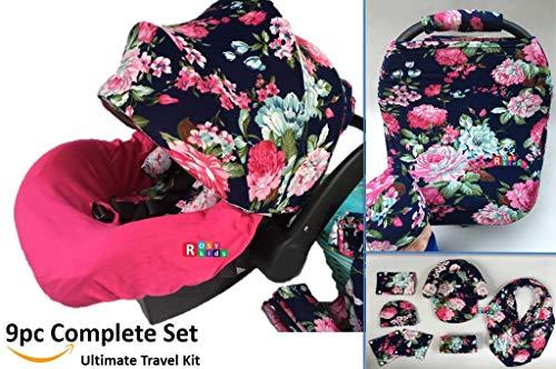 9pc Ultimate Set of Infant Car Seat Cover Canopy Headrest Blanket Hat Nursing Scarf, 25JE05 (Girl Infant Car Seat Cover Set)