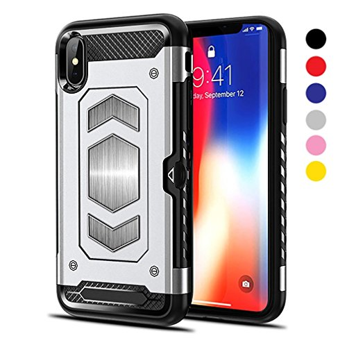 (iPhone Xs/iPhone X Case [Gun Metal Series] Heavy Duty Protector [Wireless Charging Ready]+[Magnetic Car Mount Ready] with Slim Card Holder (Wallet), (Silver) by)