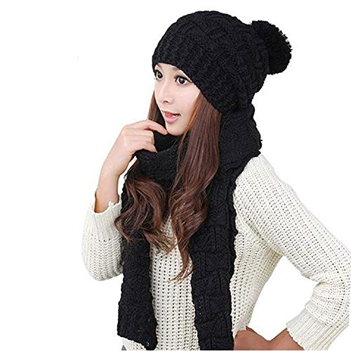 TCCSTAR Women Girls Knitted Hat Carf Set Fashion Winter Warm Knitted Hat with Attached Scarf (Black), Medium