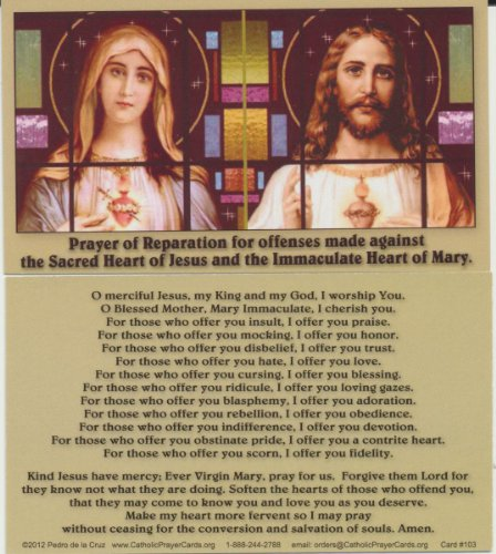 Sacred Heart of Jesus and Immaculate Heart of Mary Holy Prayer Card with Free Cross Bookmark (Prayer Sacred Heart Card Jesus Of)