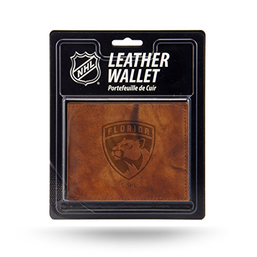 Rico Industries NHL Florida Panthers Embossed Leather Billfold Wallet with Man Made Interior - Nhl Leather Embossed Wallet