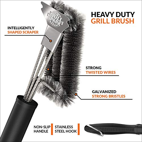 """Grill Spark Quick/Easy BBQ Grill Brush and Scraper 18"""" 