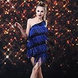 ANDP Dancer Shower Tassel Paillette One-shoulder Latin Dress Women's Costume , golden