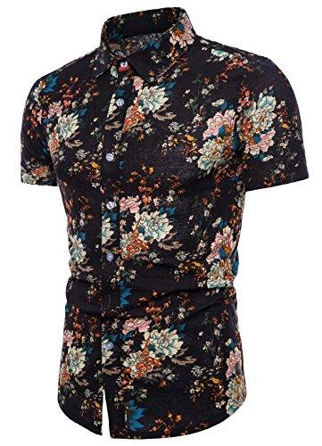 - AIEOE Men's Summer Shirt Noble Gentleman Flower Print Causal Beach Shirt Blue L