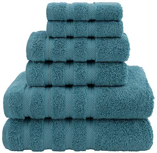 American Soft Linen Premium, Luxury Hotel & Spa Quality, 6 Piece Kitchen & Bathroom Turkish Genuine Cotton Towel Set, for Maximum Softness & Absorbency, [Worth $72.95] Colonial Blue