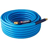 "Campbell Hausfeld Air Hose with Bend Restrictors, 50 Foot, 3/8"" ID, PVC, Non-marring, 300 PSI (PA121600AV)"