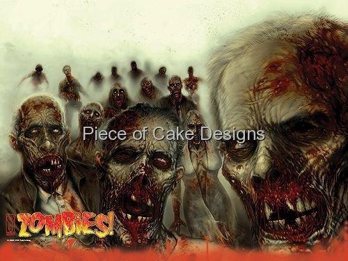 1/4 Sheet ~ Zombies! Halloween Birthday ~ Edible Image Cake/Cupcake Topper!!! by Quantumchaos -