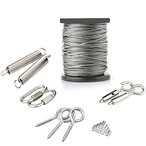 ANDOT Outdoor Hanging Light Kit, 1/16Inch,7x7, 130ft Globe String Lights Suspension Kit, 304 Stainless Steel Cable,String Lights Outdoor Rope Perfect for Patio, Garden