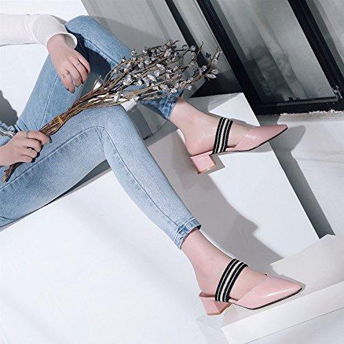 Zapatillas Walking Cuero Chanclas de Mujer Grueso de de Shoes de Casual y Beige Un Tacón Comfort Rosa Claro Verano Zapatos para 0qvBFwf