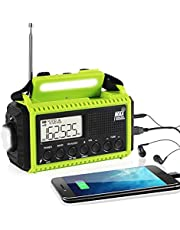 Solar Emergency Weather Radio, 5000mAh Power Bank, Hand Crank AM/FM/Shortwave NOAA Alert Weather Radio with 5 Power Ways, SOS Alarm,LED Flashlight & Reading Light ,LCD Screen, Cellphone Charger, Micro Earphone Port,3 AAA Battery Backup, Hand Strap & Hang Buckle, Lock Button, Durable Rotating Knob, Portable Outdoor Radio for Survival Kit