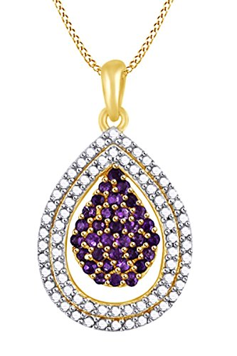 AFFY Simulated Blue Amethyst Cluster Pear Frame Pendant Necklace in 14k Yellow Gold Over Sterling Silver (1.39 Cttw) (Yg 14k Frame)