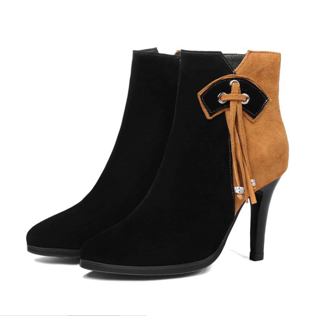 A Women's Ankle Boots Fall Winter Fashion High Heels Suede Stiletto shoes Tassel Ladies Boots Martin Boots Black Pink (color   B, Size   39)