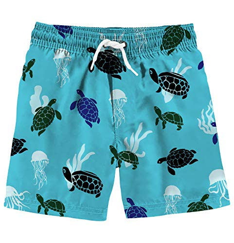 Turtle Printed Swim Trunks Board Shorts with Drawstring 4T ()
