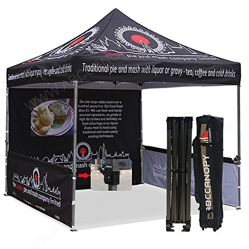 Promotional Oxfords - ABCCANOPY Deluxe Pop up Tents with Logo 10x10 Promotional Booth Tents Custom Pop up Tents Bouns 4X Weight Bag