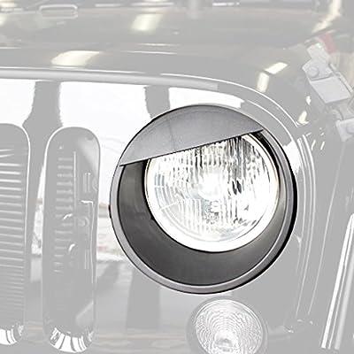 Allinoneparts Front Headlight Trim Cover Bezels Pair Jeep Wrangler Rubicon Sahara Sport JK Unlimited Accessories 2 door 4 door 2007-2017