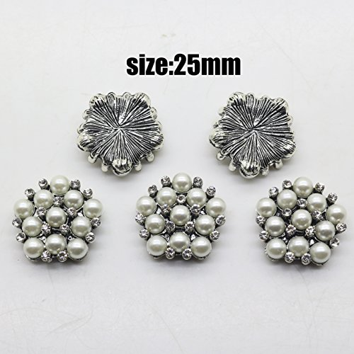 Ancient Silver Pearl Rhinestones Buttons Metal Button Flatback Embellishments Wedding Decoration DIY Accessories ()