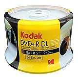 KODAK DVD+R DL 8x 8.5GB 50-Pack Cakebox, White Inkjet Printable