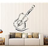 Vinyl Wall Decal Guitar Music Notes Musical Art Stickers Mural Large Decor (ig4606) Black