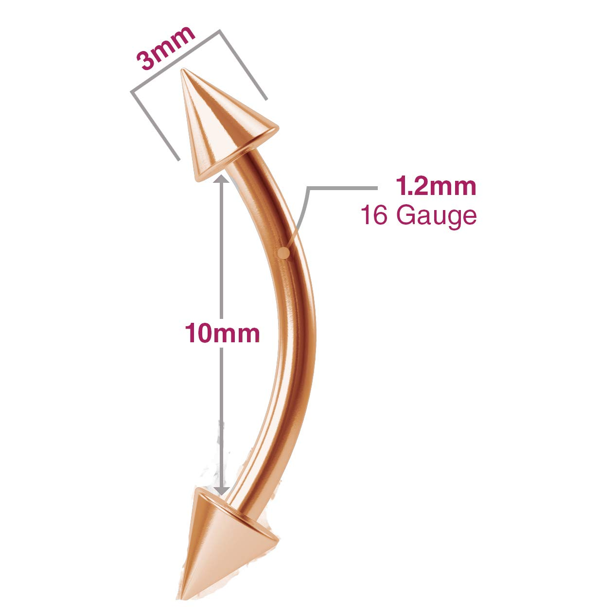 2pc 16g Curved Barbell Barbel Rook J Curve 316LVM Surgical Steel Jewelry Rose Gold Earrings Piercing Jewelry Gauge Rook Eyebrow Spike 10mm