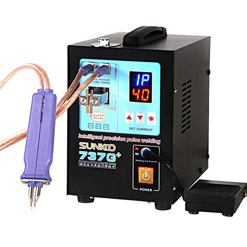 SUNKKO 737G+ 4.3KW High Power Spot Welding Machine For 18650 Batteries Nickel Strip Connection with Remote Welding Pen Making big batteries (220V US PLUG) ()