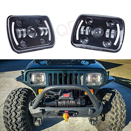(LQQDP 2pcs 7x6 Inch Rectangular Sealed Beam Conversion Kit LED Halo Angel Eye Projector Headlights Assembly Amber Turn Signal White High/Low Beam DRL Daytime Running Lights+H4-H13 Adaptors+Canbus)